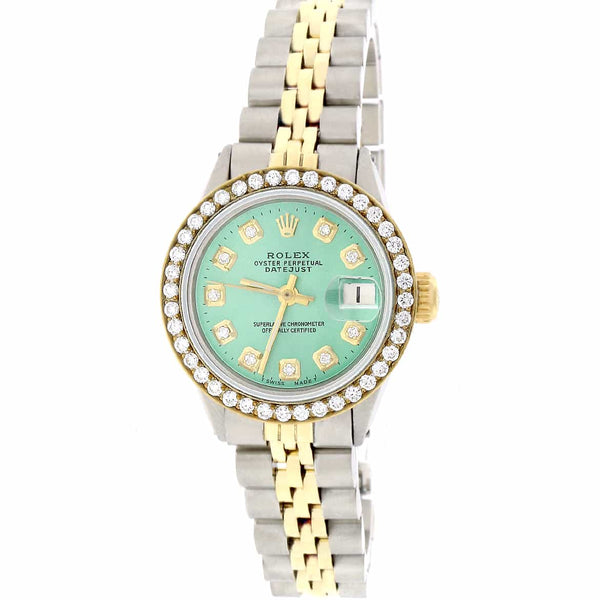 Rolex Datejust Ladies 2-Tone 18K Gold/SS 26mm Watch with Green Diamond Dial & Diamond Bezel