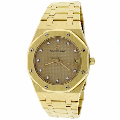 Audemars Piguet Royal Oak 18K Yellow Gold Original Champagne Diamond Dial 35mm Quartz Watch