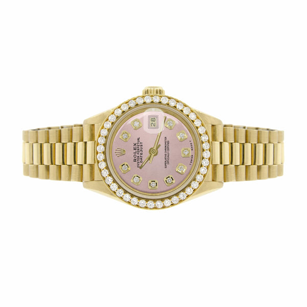 Rolex President Datejust Ladies 18K Yellow Gold 26MM Watch w/Orchid Pink Dial & Diamond Bezel