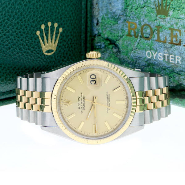Rolex Datejust 2-Tone 18K Yellow Gold & Stainless Steel Original Champagne Dial 36MM Automatic Mens Watch 1601