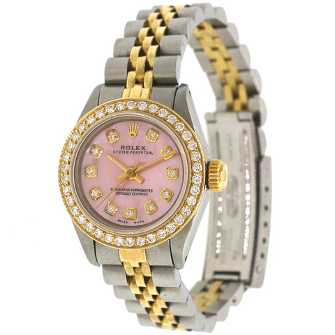 Rolex Oyster Perpetual Ladies 2-Tone 26MM Watch w/Pink MOP Diamond Dial 6719