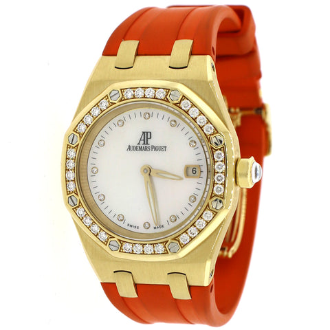 Audemars Piguet Royal Oak Lady 33mm White MOP Diamond Dial/Bezel Yellow Gold Watch