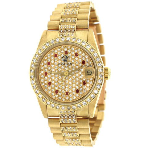 Rolex President Datejust 31MM 18K Gold Watch w/Pave Diamond Dial/ Bezel/ Bracelet/ Box & Paper