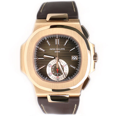 Patek Philippe 5980R Nautilus Chronograph Rose Gold Watch Box Papers