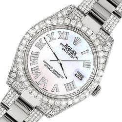 Rolex Datejust II 41mm Diamond Bezel/Lugs/Bracelet/White Pearl Roman Dial Steel Watch 116300