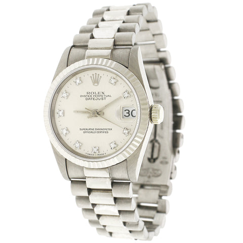 Rolex President Datejust 31MM Factory Diamond Dial White Gold Watch 68279