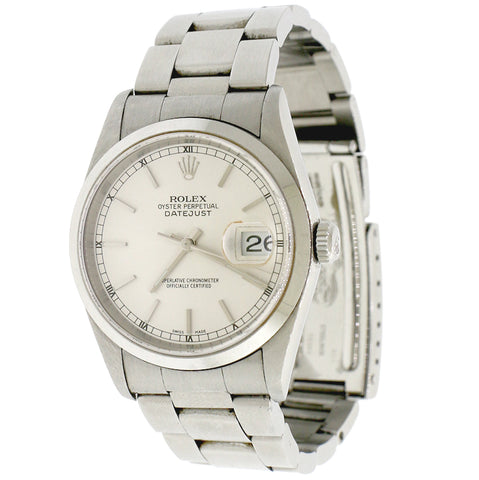 Rolex Datejust Factory Silver Stick Dial 36MM Oyster Mens Watch 16200 Box Papers