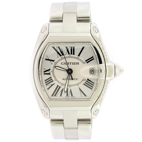 Cartier Roadster Silver Guilloché 36mm Stainless Steel Watch