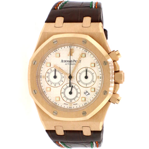 Audemars Piguet Royal Oak 39mm Chronograph Rose Gold/Silver-Toned Dial/Hand-Stitched Brown Leather Strap/26022OR.OO.D088CR.01