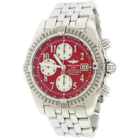 Breitling Evolution Red Dial Chronograph 44MM  Steel Watch A13356