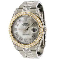 Rolex Datejust II Steel 41mm 9.9Ct Diamond Watch 116300 Box Papers