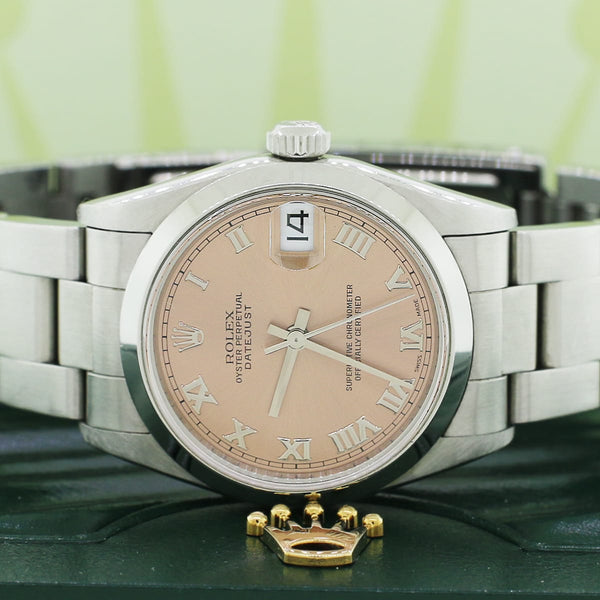 Rolex Datejust Midsize 31mm Original Salmon Roman Dial Automatic Steel Oyster Watch 68240 No Holes case