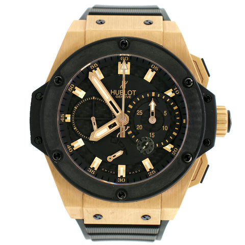 Hublot King Power 48MM Rose Gold Limited Edition Watch w/Split Second Black Guilloche Dial