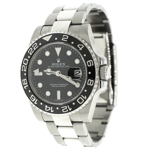 Rolex GMT-Master II Black Ceramic Bezel 40MM Stainless Steel Mens Watch 116710 Box Papers