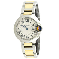 Cartier Ballon Bleu Small 28MM 2-Tone Ladies Watch W/Silver Roman Dial