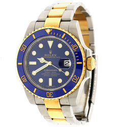 Rolex Submariner 2-Tone Blue Ceramic Bezel & Dial Oyster Watch Box Papers