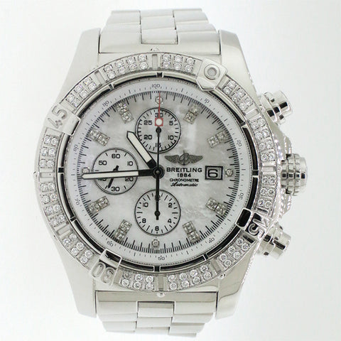 Breitling Super Avenger Chronograph White MOP Dial 48MM Watch with Custom Diamond Dial & Bezel A13370