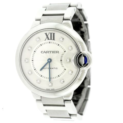 Cartier Ballon Bleu Silver Diamond Dial 36MM Stainless Steel Watch 3284