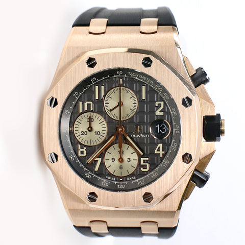 Audemars Piguet Royal Oak Offshore Rose Gold 42MM Chronograph Watch Box Papers 26470OR.OO.A125CR.01