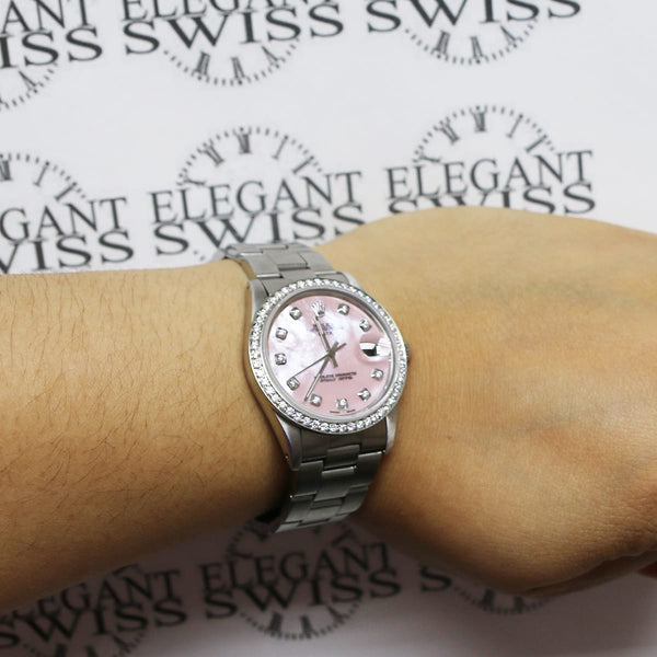 Rolex Oyster Perpetual Date 34mm Automatic Stainless Steel Watch w/Pink MOP Diamond Dial & Bezel