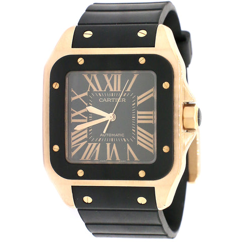 Cartier Santos 100 XL Rose Gold 38mm Watch/Black Roman Dial /Box/Booklet