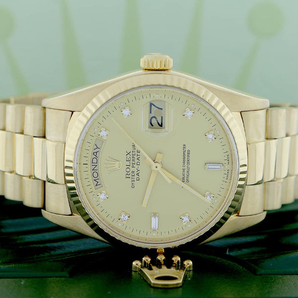 Rolex President Day-Date Original Champagne Diamond Dial 18K Yellow Gold Automatic Mens Watch 18038