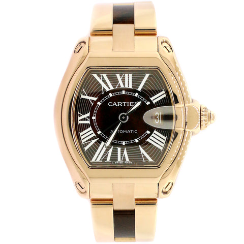 Cartier Roadster Rose Gold Watch with Walnut Burl Wood Dial/Wood and Gold Bracelet/W6206001