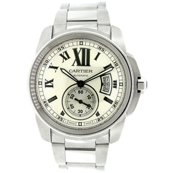 Cartier Calibre 42MM Silver Roman Dial Stainless Steel Watch