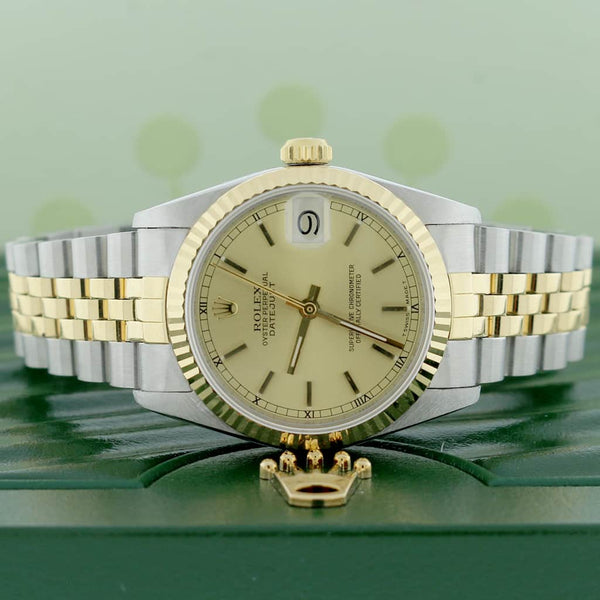 Rolex Datejust Midsize 2-Tone Yellow Gold/Stainless Steel Original Champagne Index Dial 31MM Jubilee Watch 68273