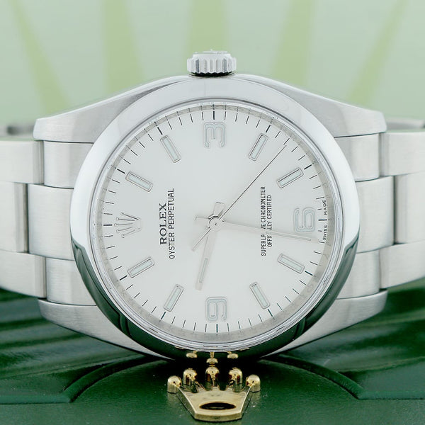 Rolex Oyster Perpetual Silver Index/Arabic Dial 36mm Automatic Stainless Steel Mens Oyster Watch 116000