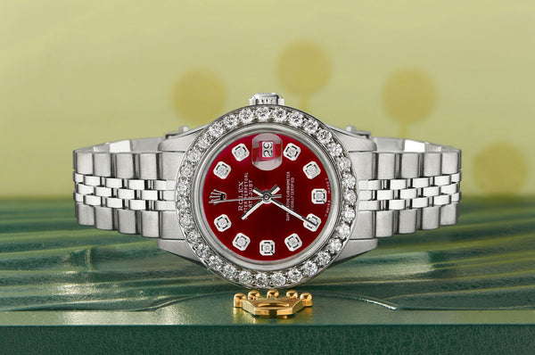 Rolex Datejust Steel 26mm Jubilee Watch Candy Red 1.3CT Diamond Bezel & Dial