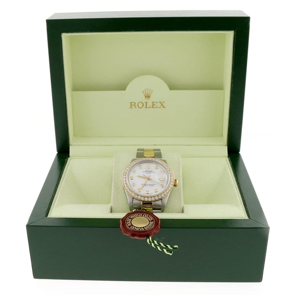 Rolex Oyster Perpetual Date 2-Tone 18K Gold/SS 34mm Automatic Watch w/MOP Diamond Dial & Bezel