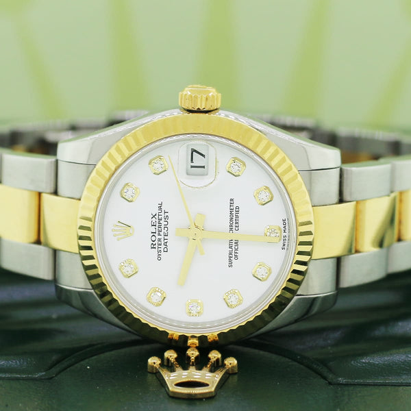 Rolex Datejust Midsize 2-Tone 18K Yellow Gold/Stainless Steel Original White Diamond Dial 31MM Oyster Watch 178273 Box Papers