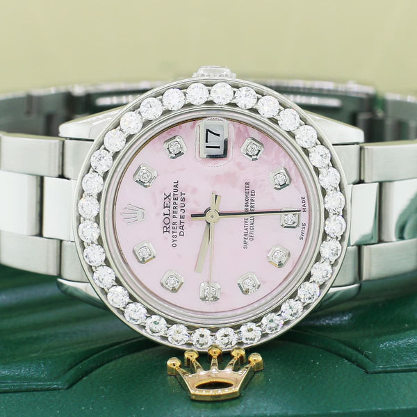 Rolex Datejust Midsize 31mm Steel Oyster Watch w/2.25Ct Diamond Bezel & Pink MOP Dial