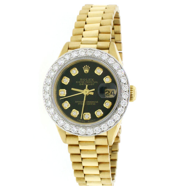 Rolex President Datejust Ladies 18K Yellow Gold 26MM Watch w/ Black Diamond Dial & 1.3Ct Bezel