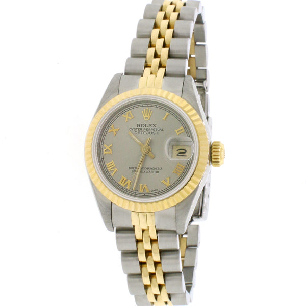 Rolex Datejust Ladies 2-Tone 18K Yellow Gold/Steel 26MM Original Rhodium Roman Dial Jubilee Watch 69173