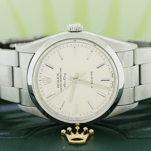 Rolex Air-King Factory Silver Index Dial 34MM Automatic Stainless Steel Oyster Watch 14000