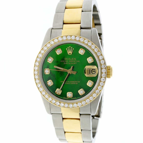 Rolex Datejust Midsize 2-Tone 18K Gold/SS 31mm Automatic Oyster Watch with Emerald Green MOP Diamond Dial & Bezel