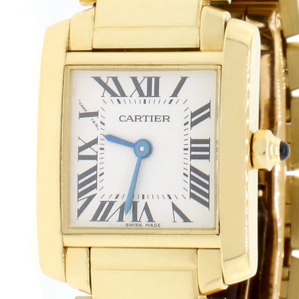 Cartier Tank Francaise Small 18K Yellow Gold 20MM Factory Roman Dial Ladies Watch W50002N2 w/Box Papers