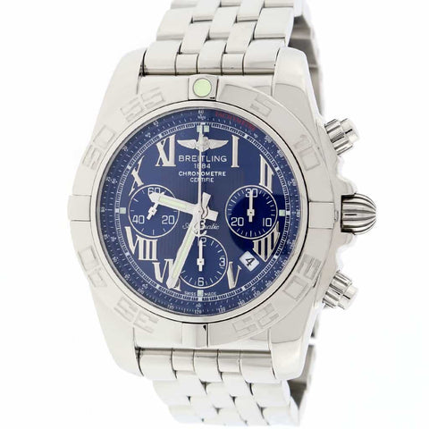 Breitling Chronomat B01 44MM Original Blue Roman Dial Chronograph Stainless Steel Automatic Mens Watch AB0110