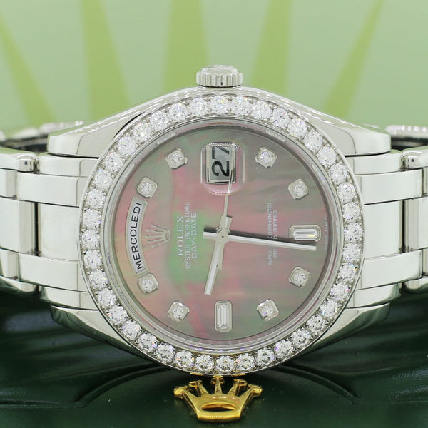 Rolex Day-Date Masterpiece Italian Day Factory Tahitian MOP Dial 40 Diamond Bezel 39MM Automatic Platinum Watch 18946