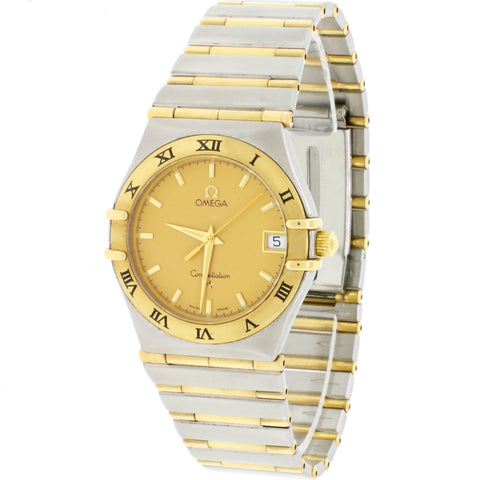 Omega Constellation Full Bar Two-Tone 18k Gold Stainless Steel Unisex Watch