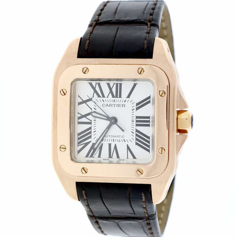 Cartier Santos 100 Midsize 18K Rose Gold Original Silver Roman Dial Automatic Watch W20108Y1