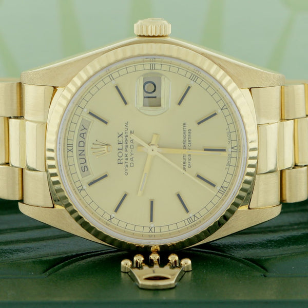 Rolex President Day-Date Original Champagne Stick Dial 18K Yellow Gold Automatic Mens Watch 18038