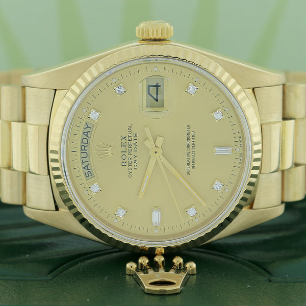 Rolex President Day-Date 18K Yellow Gold 36MM Champagne Diamond Dial Automatic Mens Watch 18038