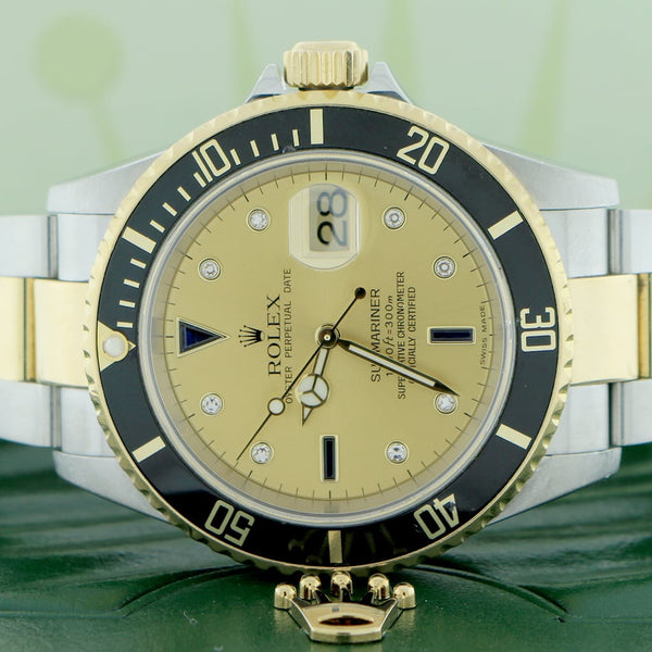 Rolex Submariner 2-Tone 18K Yellow Gold/Steel Original Serti Diamond Dial 40mm Mens Oyster Watch 16613
