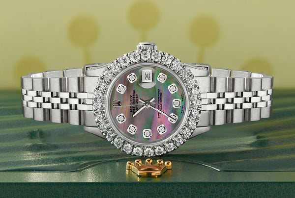 Rolex Datejust Steel 26mm Jubilee Watch 2CT Diamond Bezel/ Tahitian Diamond Dial