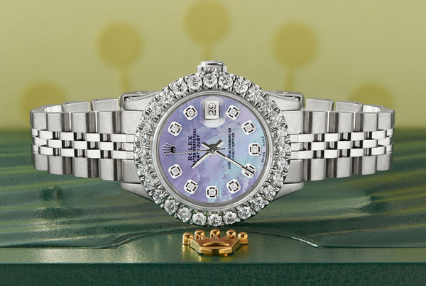 Rolex Datejust Steel 26mm Jubilee Watch 2CT Diamond Bezel / Purple MOP Dial