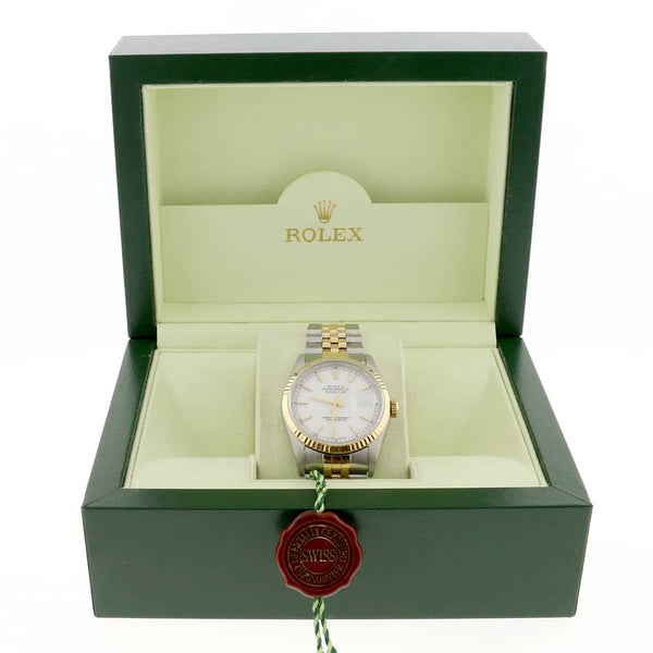 Rolex Datejust 2-Tone Yellow Gold/Stainless Steel Original White Index Dial 36MM Jubilee Watch 16233