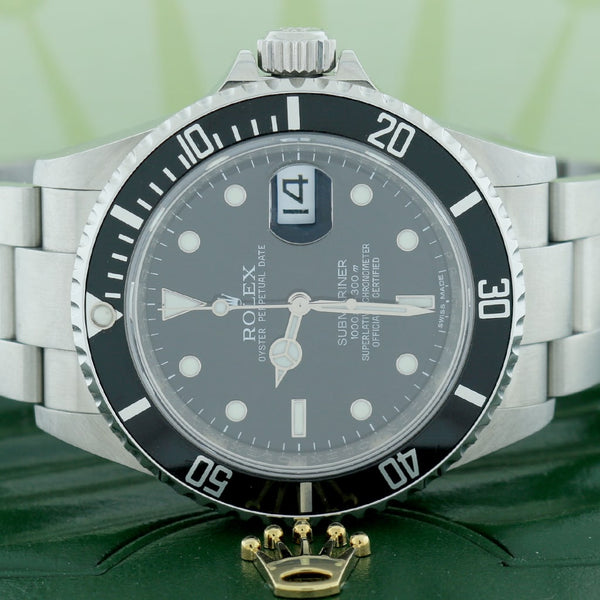 Rolex Submariner Date Black Dial 40MM Automatic Stainless Steel Mens Oyster Watch 16610T